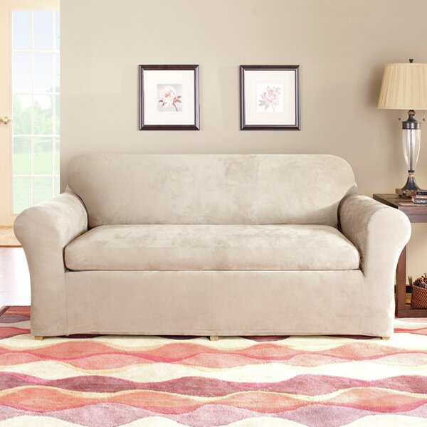 Stretch Suede Box Cushion Sofa Slipcover by Sure Fit