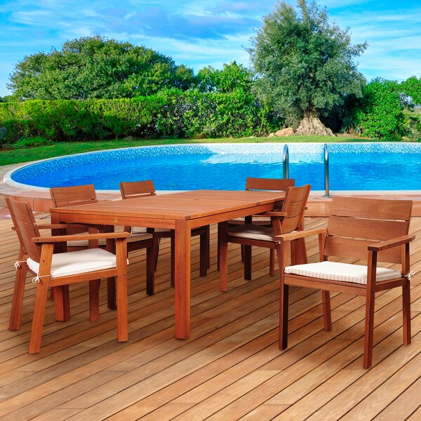 Twilley International Home Outdoor 7 Piece Dining Set with Cushions by Highland Dunes