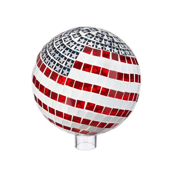 Huertas Patriotic Mosaic Gazing Globe by Charlton Home