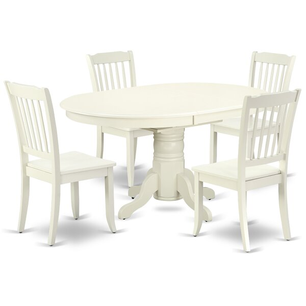 Kovac 5 Piece Extendable Solid Wood Dining Set by August Grove