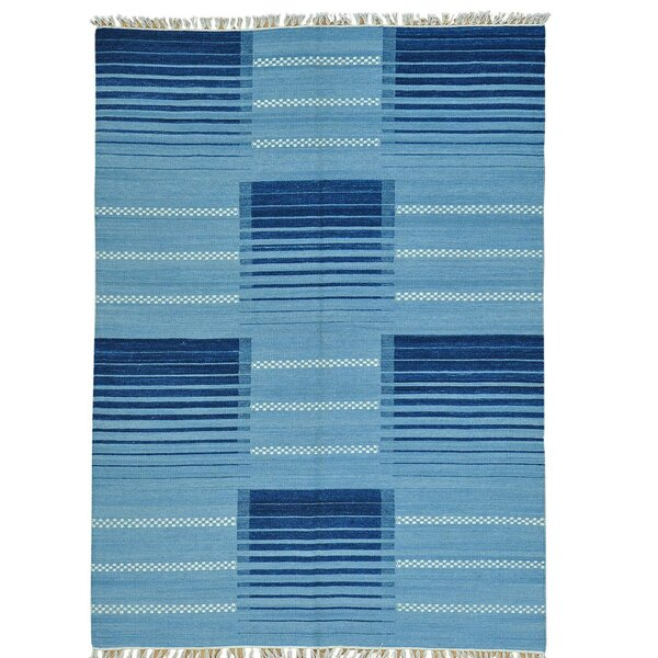 Flat Weave Reversible Durie Kilim Hand-Knotted Blue Area Rug by Millwood Pines