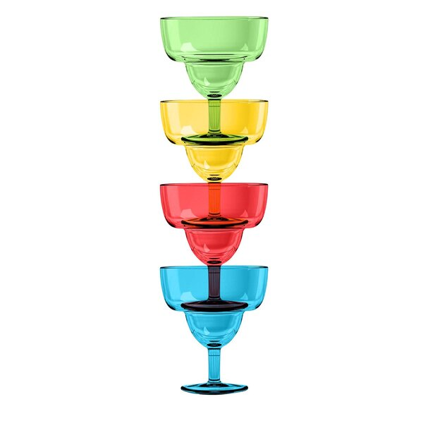 Hubbert Margarita Glass Plastic (Set of 4) by Brayden Studio