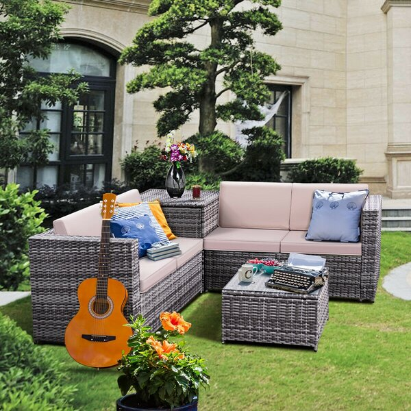 Gennadiy 4 Piece Rattan Sofa Seating Group with Cushions by Latitude Run