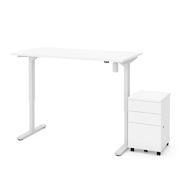 Lilian 2-Piece Electric Height Adjustable Desk Office Suite by Symple Stuff