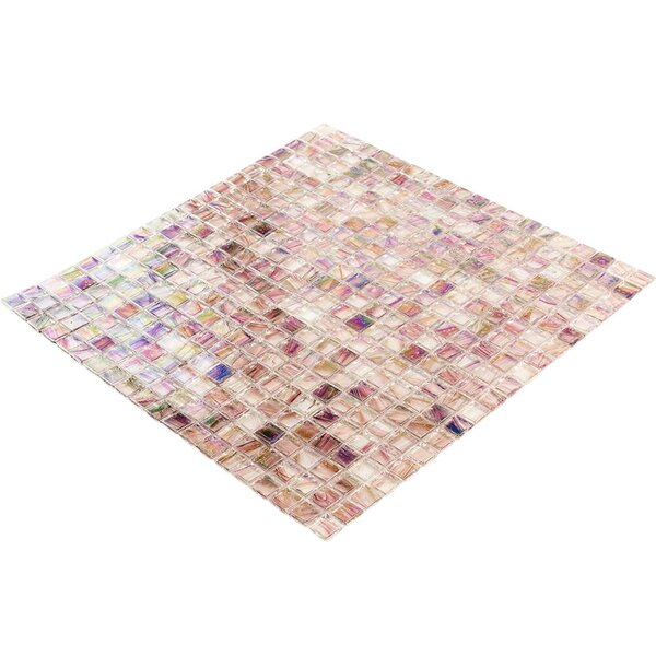 Breeze 0.62 x 0.62 Glass Mosaic Tile in Pink/Purple by Splashback Tile