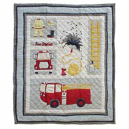 Fire Truck Cotton Throw Quilt by Patch Magic