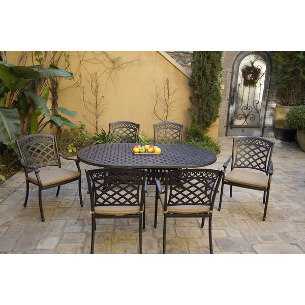 Canfield 7 Piece Dining Set with Cushions by Fleur De Lis Living