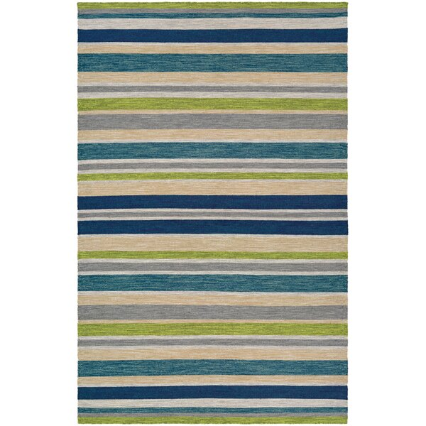 Cordero Hand-Woven Ocean Blue Indoor/Outdoor Area Rug by Ebern Designs