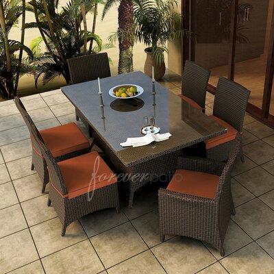 Hampton 7 Piece Dining Set with Sunbrella Cushions Forever Patio Fabric: Canvas Rust / Spectrum Sierra Welt