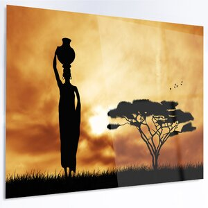 'African Woman and Lonely Tree' Graphic Art on Metal by Design Art