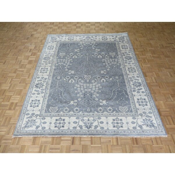 One-of-a-Kind Josephson Oushak Ushak Hand-Knotted Silver/Blue Area Rug by Canora Grey