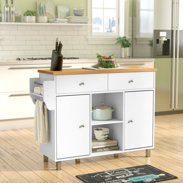 Hogle Kitchen Island with Spice Rack and Towel Rack by Zipcode Design