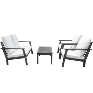 Densmore Outdoor Patio Hand Scraped Wood Sofa Set with Cushions by Darby Home Co