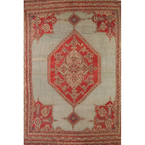 One-of-a-Kind Viqueque Oushak Turkish Oriental Hand-Knotted Wool Green Area Rug by Bloomsbury Market