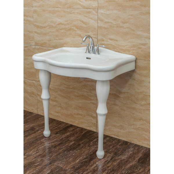 Round-up Vitreous China 32 Console Bathroom Sink with Overflow