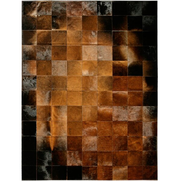 Bellomy Patchwork Hand-Woven Cowhide Chocolate/Black Area Rug by Foundry Select