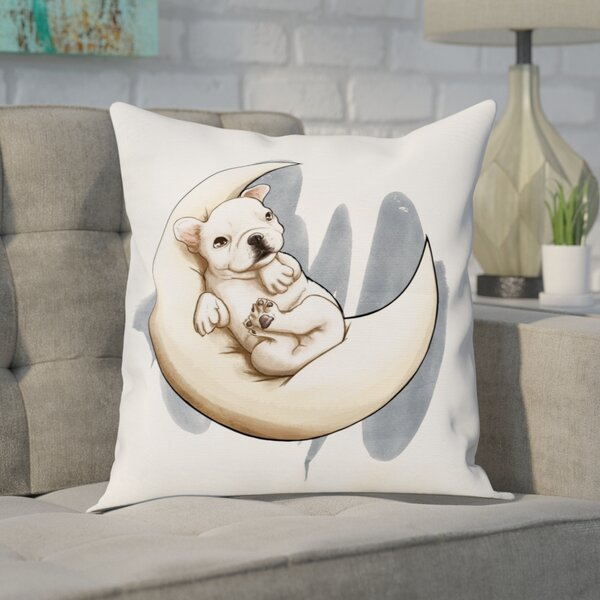 Chadd Lunar Frenchie Throw Pillow by Brayden Studio