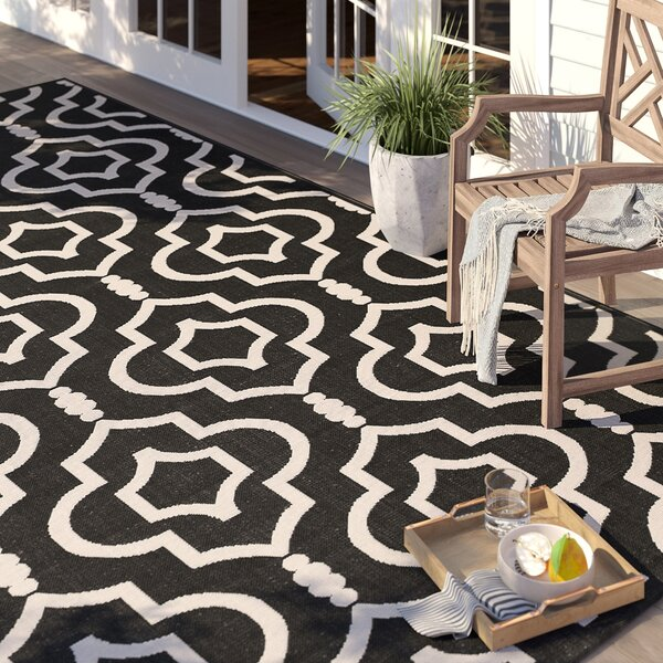 Larson Black/Beige Indoor/Outdoor Area Rug by Sol 72 Outdoor
