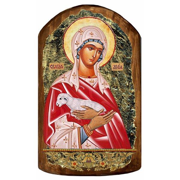 Inspirational Icon Saint Agnia Painting by G Debrekht
