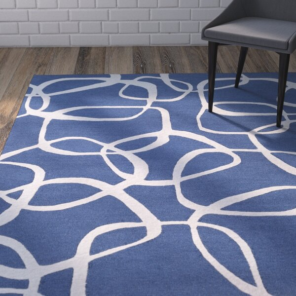 Himes Hand-Tufted Navy/Light Gray Area Rug by Wrought Studio