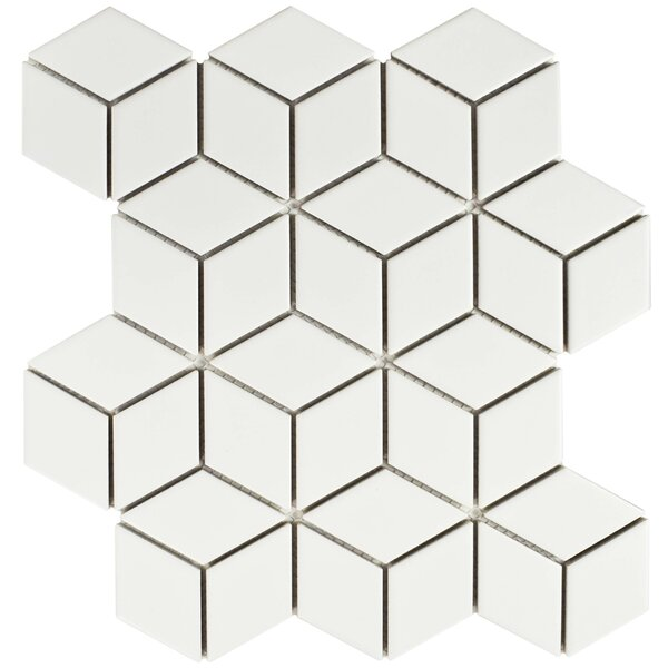 Retro Rhombus 1.88 x 3.18 Porcelain Mosaic Tile in Matte White by EliteTile