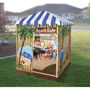 Beach Bum Cabana 4 ft. Square Sandbox with Cover