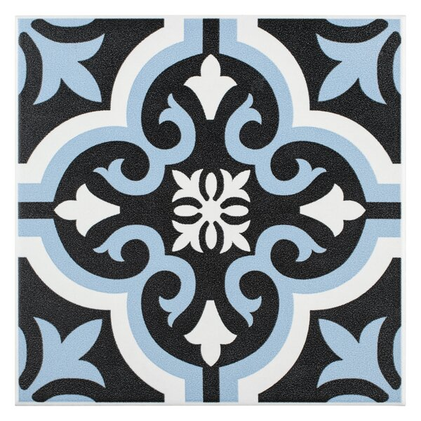 Lima 7.75 x 7.75 Ceramic Field Tile in Blue/Black