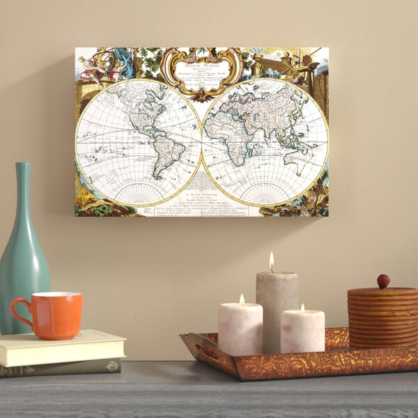 World Map Circa 1499 Framed Graphic Art on Wrapped Canvas by World Menagerie