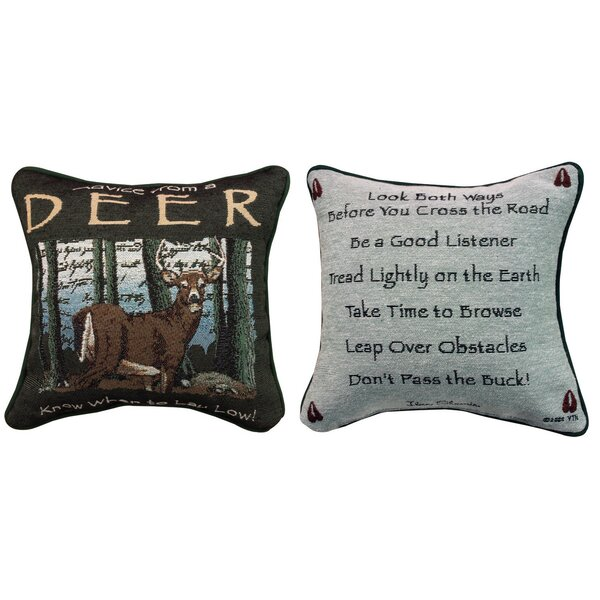 Advice from a Deer Throw Pillow by Manual Woodworkers & Weavers