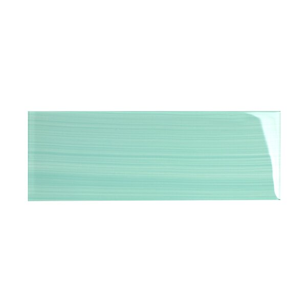 Hand Painted Series 4'' x 12'' Glass Subway Tile in Light Teal by WS Tiles