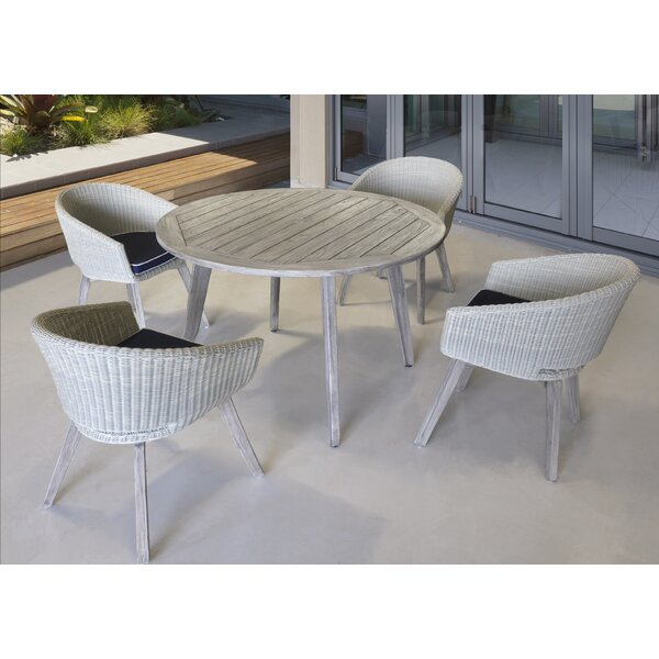 Kenansville 5 Piece Teak Dining Set with Cushions by Rosecliff Heights