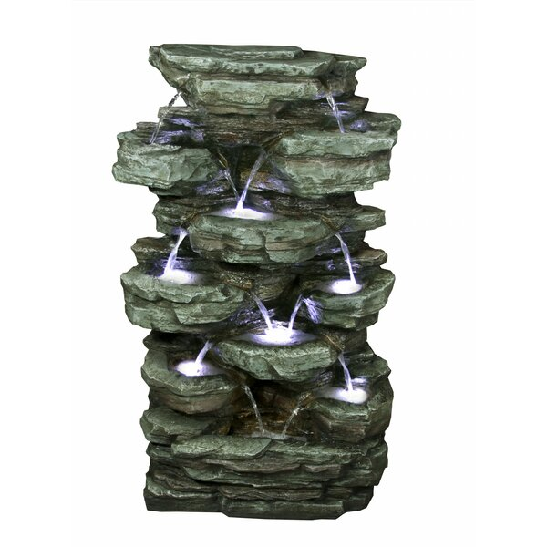 Polystone/Fiberglass Tiered Rock Rainforest Fountain with Light by Alpine