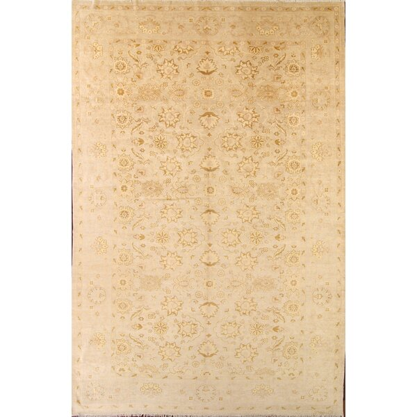 One-of-a-Kind Myrtlewood Peshawar Pakistan Oriental Hand-Knotted Wool Beige/Ivory Area Rug by Astoria Grand