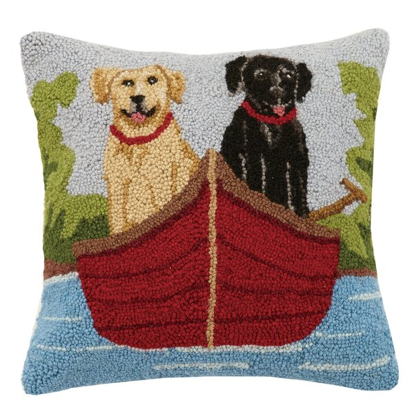 Lab on Canoe Wool Throw Pillow by Peking Handicraft