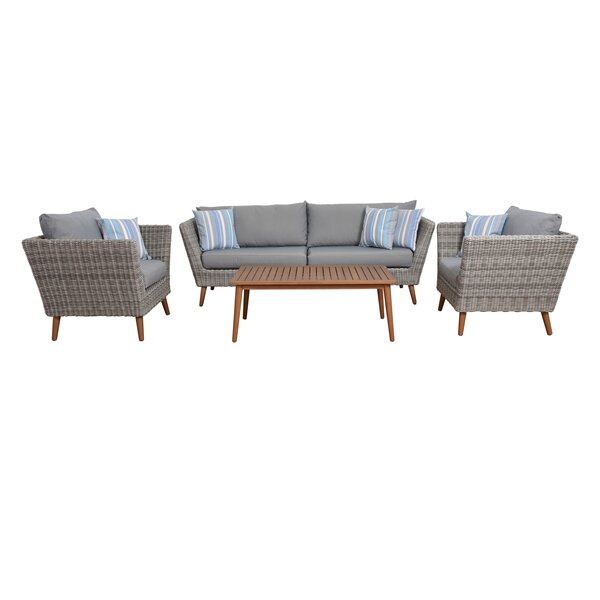 Stephene 4 Piece Sofa Seating Group with Cushions by Brayden Studio