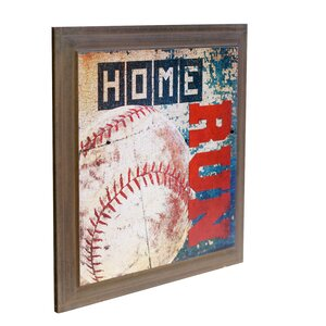 Wood Baseball Sign Graphic Art by Harriet Bee