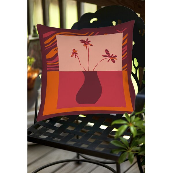 Minimalist Flowers 3 Indoor/Outdoor Throw Pillow by Manual Woodworkers & Weavers
