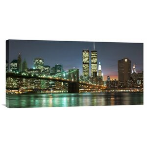 'The Brooklyn Bridge and Twin Towers at Night' by Mancini Photographic Print on Wrapped Canvas by Global Gallery