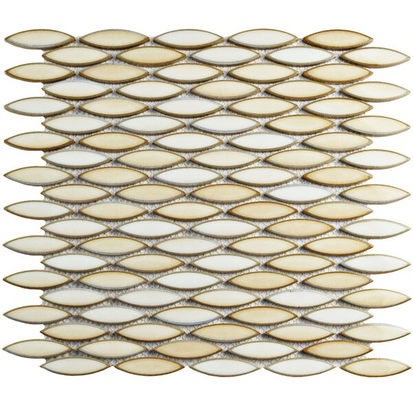 Paissan 0.69 x 2.44 Ceramic Mosaic Tile in Glossy Cream/Beige by EliteTile