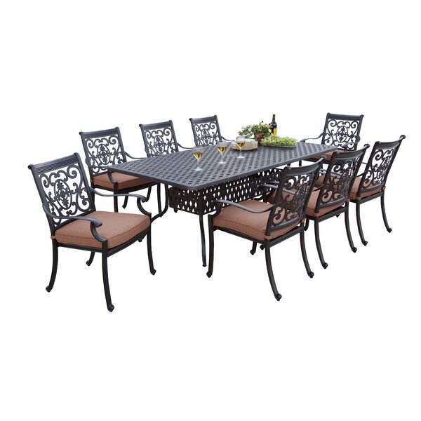 Mccraney 9 Piece Metal Frame Dining Set with Cushions by Astoria Grand