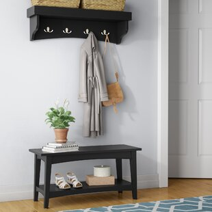 Round Hill Hall Tree Coat Hook and Bench Set