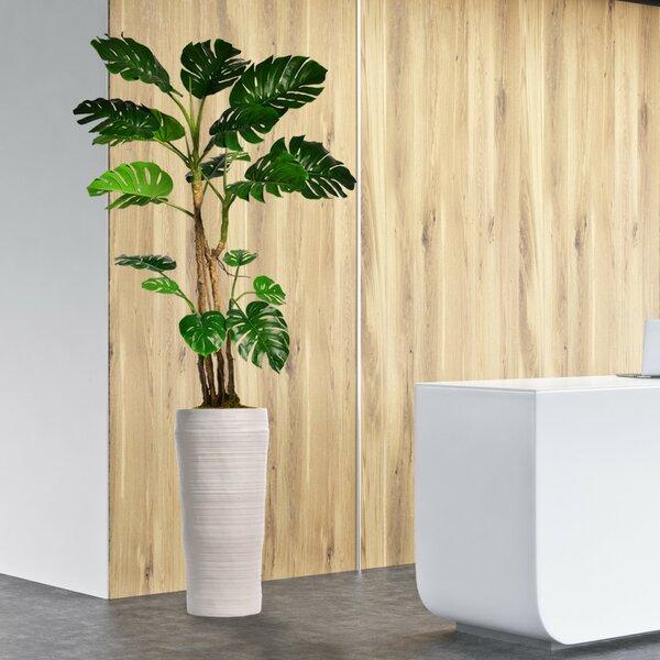 Monstera Artificial Home Décor Floor Foliage Tree in Planter by Corrigan Studio