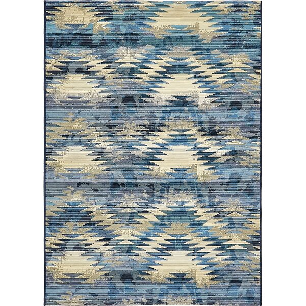 Avila Blue Abstract Indoor/Outdoor Area Rug by Brayden Studio