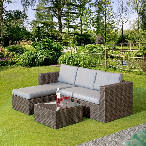 Crader Patio Sectional Seating Group with Cushions by Red Barrel Studio