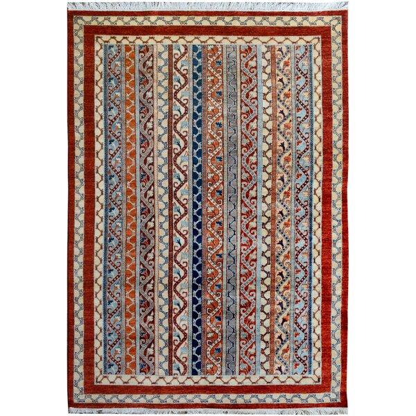 One-of-a-Kind Abner Hand-Knotted Wool Red/Blue Area Rug by Isabelline