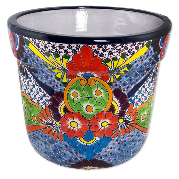 Talavera Flower Ceramic Pot Planter by Novica