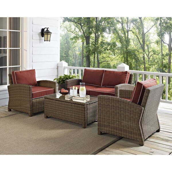 Dardel 4 Piece Sofa Seating Group with Cushions by Beachcrest Home