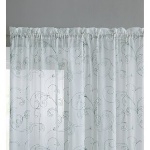 Eagleville Nature/Floral Sheer Rod Pocket Single Curtain Panel