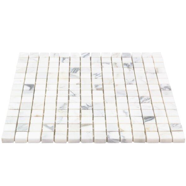 0.75 x 0.75 Marble Mosaic Tile in White/Gray by Splashback Tile