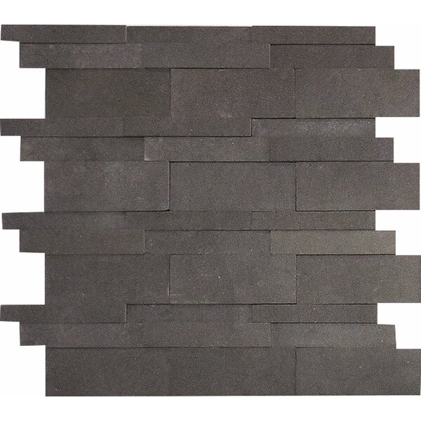 Lava 3D Random Sized Stone Mosaic Tile in Black Honed by Parvatile